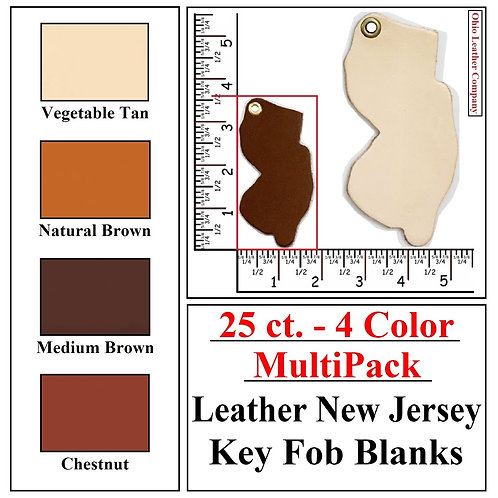25 ct. - 4 Color - MultiPack - Leather New Jersey Key Fob Blanks