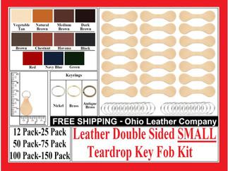 Leather Double Sided SMALL Key Fob Kit - Ohio Leather Company.com