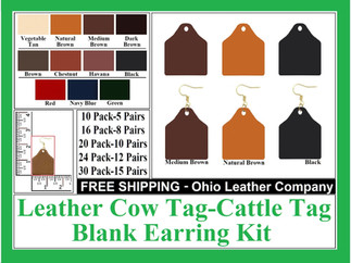 Leather Cow Tag Earring Blanks , Leather