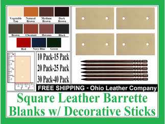 Leather Square Barrette Blanks with Deco