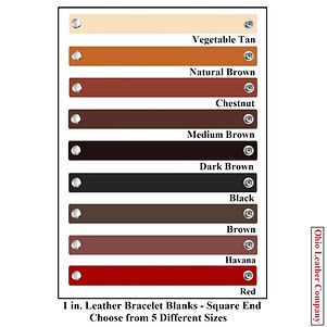 1 in. Leather Bracelet Blank Square End - Choose from 5 Sizes & 8 Colors - Ohio Leather Company