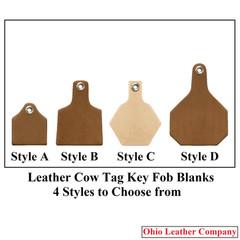 Leather Cow Tag Key Fob Blanks Size Comparison - Leather Cattle Tag Key Fob Blanks Size Comparison - OhioLeatherCompany.com -1