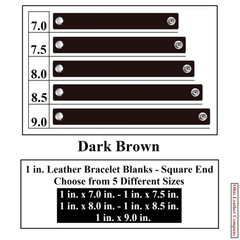 1 in. Leather Bracelet Blanks - Square End - Dark Brown - OhioLeatherCompany.com