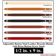 Adjustable Buttton Stud Leather Bracelet Blanks - 1/2 in. x 9 in. - OhioLeatherCompany.com -3
