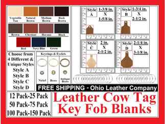 Leather Cow Tag Key Fob Blank - Leather Cattle Tag Key Fob Blank - Ohio Leather Company.com
