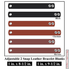 1 in. x 8-1/2 in - 1 in. x 9-1/2 in. Adjustable 2 Snap Leather Bracelet Blanks - Adjusts to 2 Sizes - OhioLeatherCompany.com -2