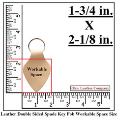 Leather Double Sided Spade  Keychain Work Space Size - OhioLeatherCompany.com