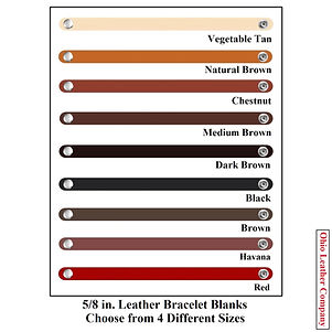 5/8 in. Leather Bracelet Blanks - Choose from 4 Different Sizes & 8 Colors - Ohio Leather Company
