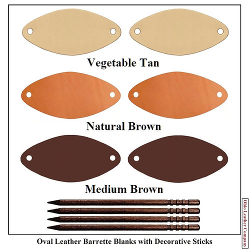 3 Color - MultiPack - Oval Leather Barrette Blanks with Decorative Sticks