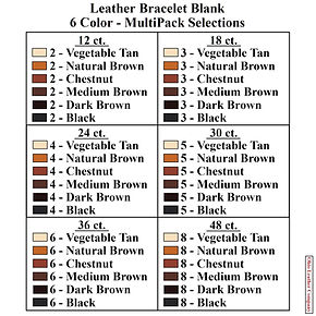 Leather Bracelet Blank 6 Color MultiPack Selections - Ohio Leather Company