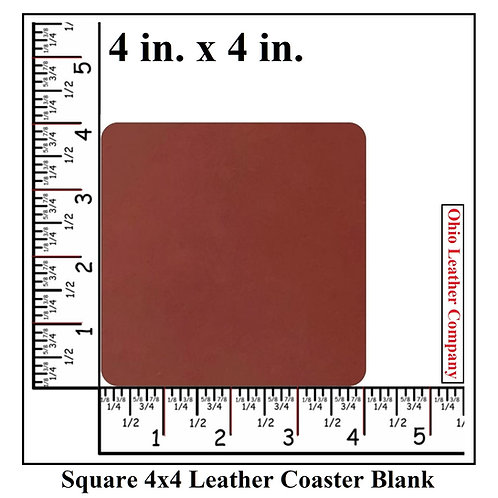 Square Leather Coaster Blank -- 4 x 4 --