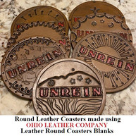 Leather Round Coaster Blanks - 3 Sizes to choose from 3-1/4 in. - 3-5/8 in. - 4-1/8 in. - OhioLeatherCompany.com -01