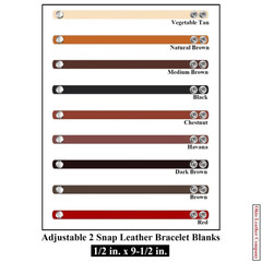1/2 in. x 8-1/2 in - 1/2 in. x 9-1/2 in. Adjustable 2 Snap Leather Bracelet Blanks - Adjusts to 2 Sizes - OhioLeatherCompany.com -3