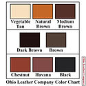 Color Chart for Ohio Leather Company-Choose from 8 Beautiful Colors for our Custom Leather Goods