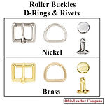Accessory Selection - Roller Buckles, D-Rings & Rivets - 2 Finishes Available - Nickel - Brass - Ohio Leather Company