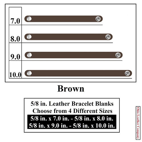 5/8 in. Leather Bracelet Blank Round End 1 Snap BROWN