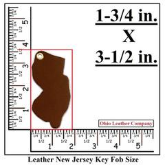 Leather New Jersey Key Fob Blank Size - OhioLeatherCompany.com