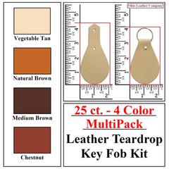 25 ct.- 4 Color MultiPack Leather Teardrop Key Fob Kit - OhioLeatherCompany