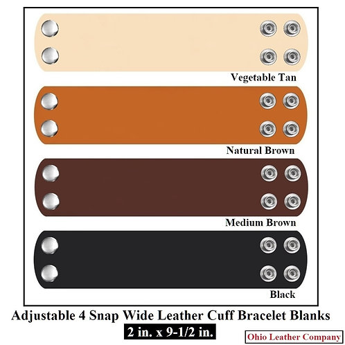4 Color -MultiPack 2 in. x 9-1/2 in. Adjustable Wide Leather Cuff Bracelet Blank