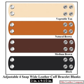 2 in. x 9-1/2 in. - Adjustable 4 Snap Leather Bracelet Blanks - OhioLeatherCompany.com