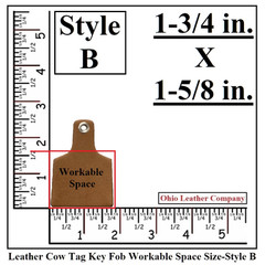 Leather Cow Tag Key Fob Blank Work Space Size - Leather Cattle Tag Key Fob Blank Work Space Size - Style B - OhioLeatherCompany.com