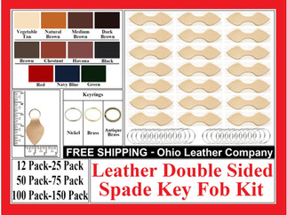 Leather Double Sided Spade Key Fob Kit - Ohio Leather Company.com