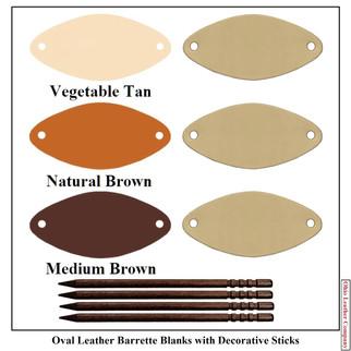 Oval Leather Barrette Blanks - 3 Color MultiPack - OhioLeatherCompany.com