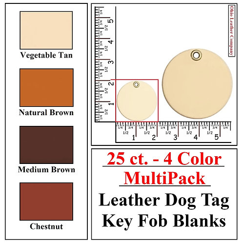 25 ct. - 4 Color - MultiPack - Leather Dog Tag Key Fob Blanks