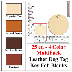 25 ct.- 4 Color MultiPack Leather Dog Tag Key Fob Blank - OhioLeatherCompany