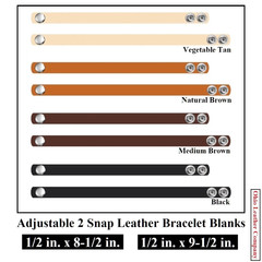 1/2 in. x 8-1/2 in - 1/2 in. x 9-1/2 in. Adjustable 2 Snap Leather Bracelet Blanks - Adjusts to 2 Sizes - OhioLeatherCompany.com -2j