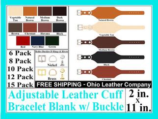 Bracelet Blanks - Adjustable Buckle Leat