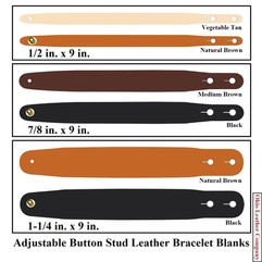 Adjustable Buttton Stud Leather Bracelet Blanks - 3 Sizes to choose from - Adjusts to 2 Sizes - OhioLeatherCompany.com -1