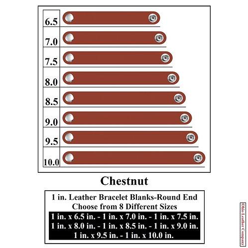 1 in. Leather Bracelet Blank Round End 1 Snap CHESTNUT