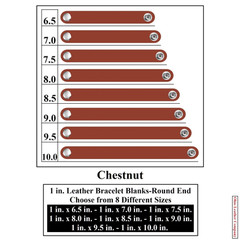 1 in. Leather Bracelet Blanks - Round End - Chestnut - OhioLeatherCompany.com