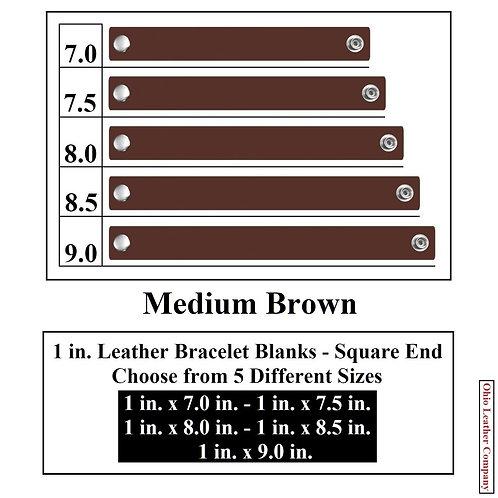 1 in. Leather Bracelet Blank Square End 1 Snap MEDIUM BROWN