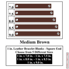 1 in. Leather Bracelet Blanks - Square End - Medium Brown - OhioLeatherCompany.com
