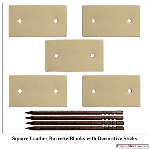 Square Leather Barrette Blankswith Decorative Sticks