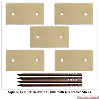 Square Leather Barrette Blanks with Deco