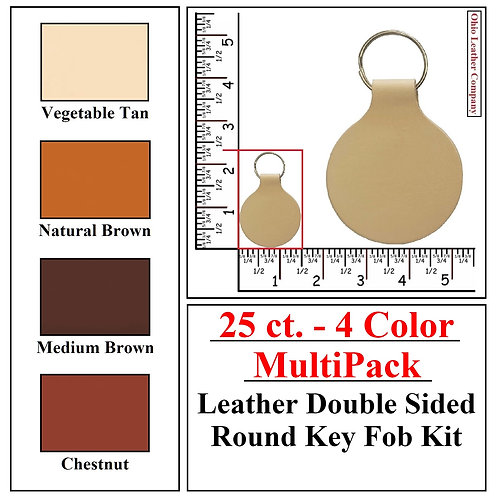 25 ct. - 4 Color - MultiPack - Leather Double Sided Round Key Fob Kit