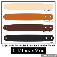 Adjustable Buttton Stud Leather Bracelet Blanks - 1-1/4 in. x 9 in. - OhioLeatherCompany.com -1