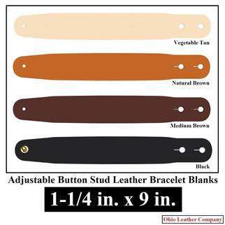 Adjustable Buttton Stud Leather Bracelet Blanks - OhioLeatherCompany.com