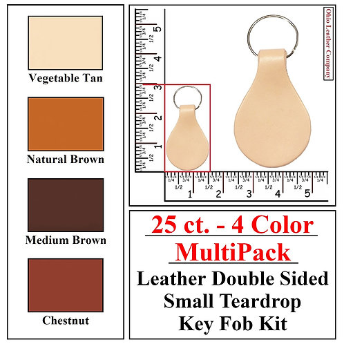 25 ct. - 4 Color - MultiPack - Leather Double Sided SMALL Teardrop Key Fob Kit