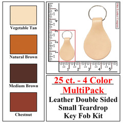 25 ct.- 4 Color MultiPack Leather Double Sided Small Teardrop Key Fob Kit - OhioLeatherCompany