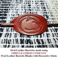 Oval Leather Barrette Blank with Decorative Stick - OhioLeatherCompany.com 03