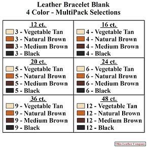 Leather Bracelet Blank 4 Color MultiPack Selections - Ohio Leather Company