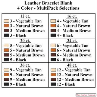 4 Color MultiPack Bracelet Blank Selection - OhioLeatherCompany.com