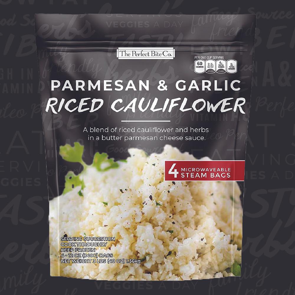 A blend of riced cauliflower, herbs, and parmesan cheese.