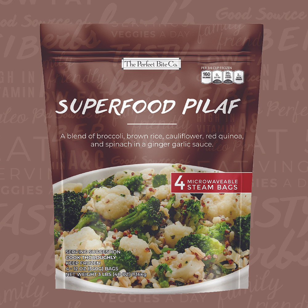A blend of broccoli, cauliflower, spinach, brown rice, and red quinoa in a ginger garlic sauce.