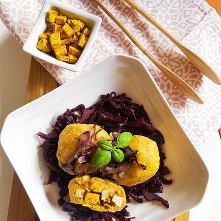 Batátové knedlíky plněné uzeným tofu