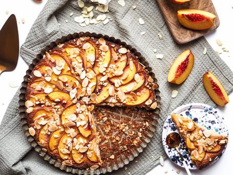 Mandlový koláč s broskvemi (bez lepku)